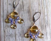 Whiskey quartz, tanzanite and olive quartz chandelier earring
