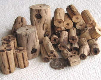 33 Driftwood Sea Wood Beads Tubes Drilled 3mm holes Supplies (1607)