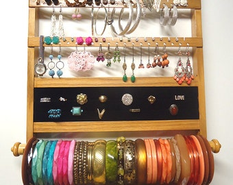 Jewelry Organizer Earring Holder Ring Storage, Deluxe Honey Stained Wall Mounted Rack, Bracelet Bar Necklace Display, Solid Oak Hardwood