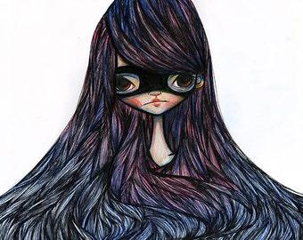 Fine Art Print - 'Nadia' - 8.5x11 or 8x10 11x17 or 13x19 Medium or large Sized - Super Hero Girl art print - Purple and Blue/White