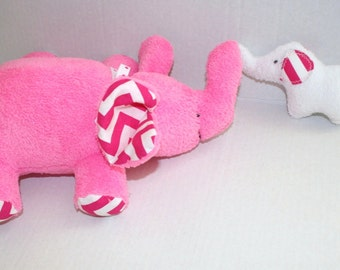 Elephant Plush Hot pink fleece with modern Chevron fabric