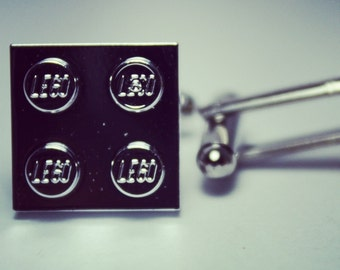 Made from Lego Chrome Silver Tile Cufflinks