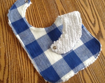 Flannel and Chenille Baby Bib, Snap Closure, Buffalo Plaid Blue & White