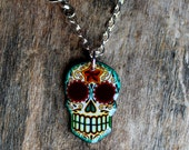 CLEARANCE - Antiqued Filigree Sugar Skull with Small Swallow Necklace - Day of the Dead Calavera