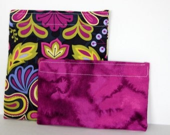 Reusable cloth sandwich and snack bag set- purple and green damask