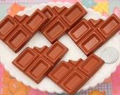 Chocolate Cabochon - 55mm Big Chocolate Bar Resin Flatback Cabochons - 2 pc set