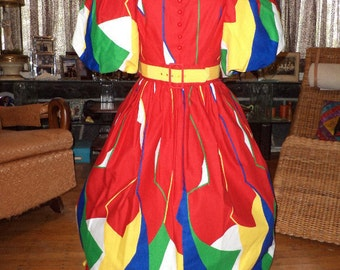 Amazing 1980's does 1950's Victor Costa Nautical Op Art Maxi Dress Red Green White Yellow Blue Small Medium