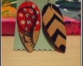 hand painted folk art wooden geometric chevron owl earrings tear drops