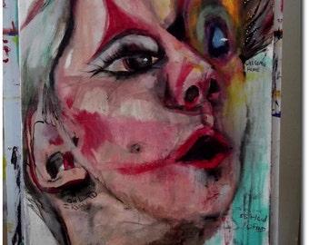 """original painting edie sedgwick  """"Edie girl #2"""" andy warhol"""