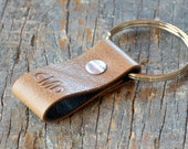 Monogrammed Light Brown and Black Leather Keychain - Short & Wide Style