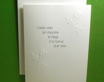 SPANISH Baby Loss / Miscarriage Sympathy Card