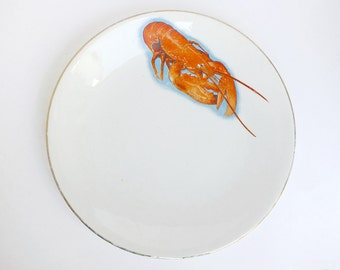 Mid century French orange lobster Digoin Sarreguemines plate, Sea animal porcelain shabby chic china plate, Mid century retro kitchen decor