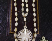 Reserved for Jen Vintage MOP Necklace Miraculous medal mother of pearl rosary beads