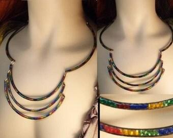 Vintage Guilloche enamel Modernist necklace