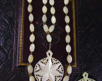 Vintage MOP Necklace Miraculous medal mother of pearl rosary beads