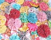 Fabric Yoyo, Fabric Flower, Fabric Bloom, Yoyo Flowers, Handmade Yoyo Flower - Set of 3 LUCKY DIP