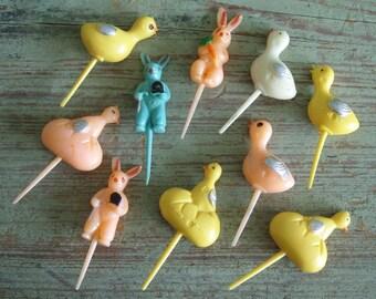 10 Vintage Easter Cake Picks Rabbit Chick Duck Hard Plastic