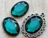 Oval 18x25 Mirror Glass Cabochon Cab Faceted Table Cut - Teal Green- 2pcs