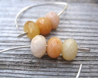silver earrings in citrus jasper. eco sterling silver earings. modern jewelry splurge.