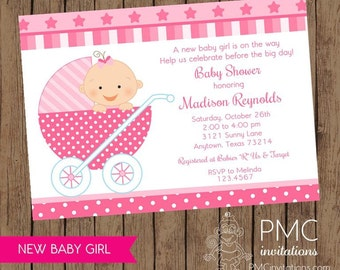 New Baby Girl Baby Shower Invitations - 1.00 each with envelope