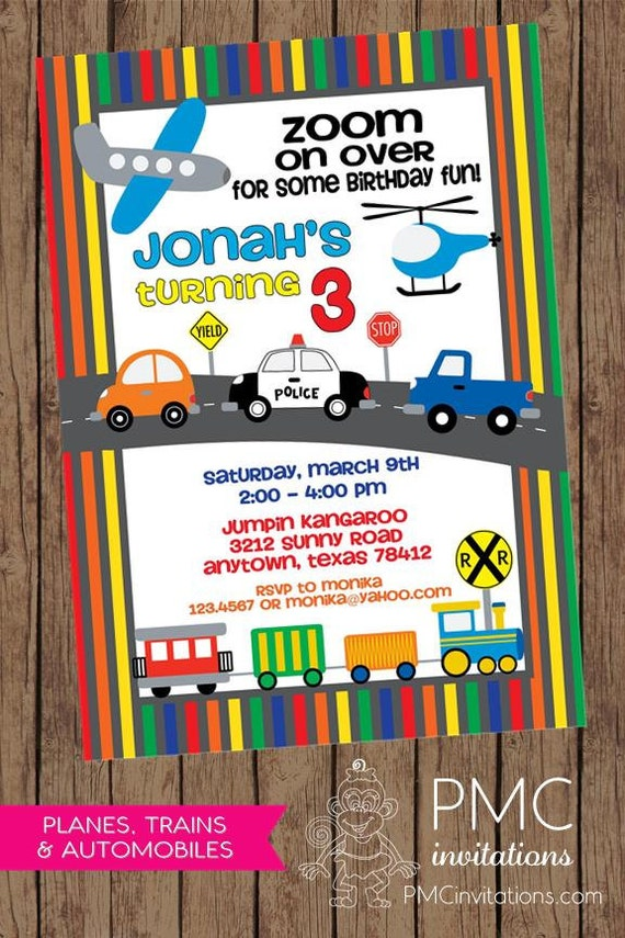 Planes, Trains and Automobile Birthday Invitations - 1.00 each with ...