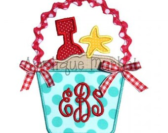Machine Embroidery Design Applique Beach Bucket Ric Rac INSTANT DOWNLOAD