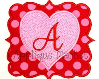 Machine Embroidery Design Applique Heart Frame Alphabet INSTANT DOWNLOAD