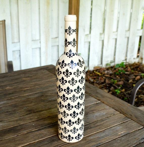 Beige Fleur de Lis Upcycled Decorative Glass Bottle