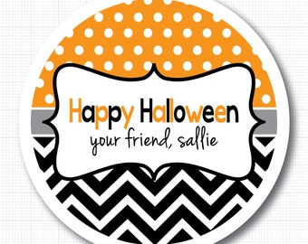 Dots & Chevron . Personalized Halloween Stickers or Tags