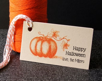 10 Illustrated Pumpkin Happy Halloween Personalized Halloween Tags . 2 x 3.5 inches