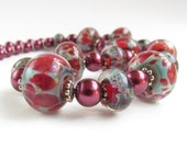 Handmade Boro Lampwork Necklace, Red and Blue, handmade by Harleypaws, SRAJD  OOAK