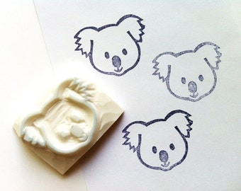 baby koala hand carved rubber stamp - australian animal stamp - diy birthday christmas baby shower - scrapbooking - gift wrapping