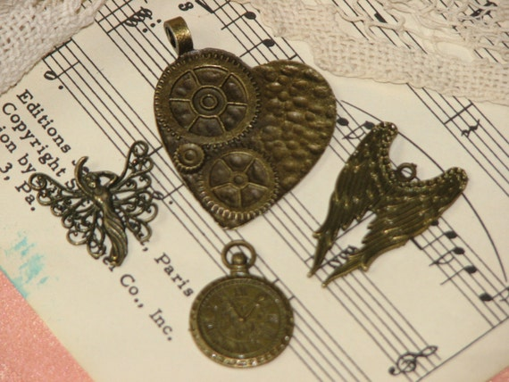 Steampunk Fairy Charm Set - Jewelry, Charms, Scrapbooking, and More