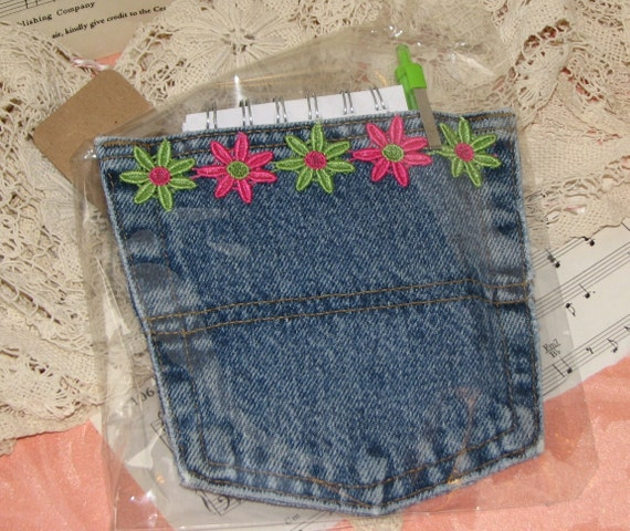 Denim Jean Pocket Magnet Note Pad Holder