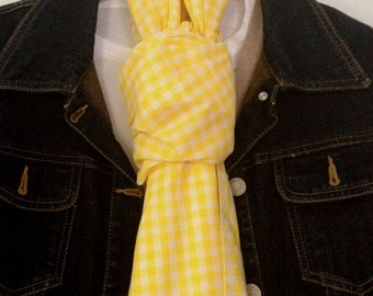 Yellow and White Gingham Scarf - A little Bit Country - Light - Sunny - Bright - Extra Long