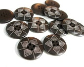 1 inch wooden buttons dark brown set of 6 geometric pattern wooden buttons (BB128C)