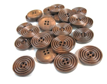 Coffee brown Wooden Sewing Buttons 20mm - set of 8 natural circle wood button  (BB132AA)