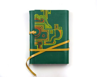 Green Leather Journal - Colored Orange Red Green Abstract Leather Notebook - Random Puzzle
