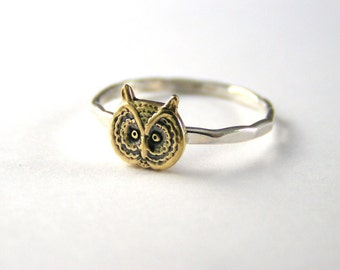 Owl Ring, Halloween Ring, Stack Ring, Sterling Silver Owl Ring, Silver Ring, Owl Jewelry, Hoot Owl Ring, Barn Owl Ring, Fall Ring