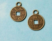 100 tiny Chinese coin charms, bronze tone, 12mm