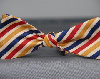 Red, Blue, Gold Striped  Bow Tie