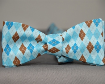 Blues and Brown in Argyle  Bow Tie