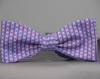 Purple Dots & Stripes  Bow tie