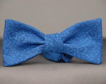 Blue Subtle Floral on Blue  Bow Tie