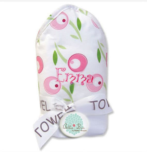 Monogrammed Hooded Baby Towels Girl Embroidered Personalized