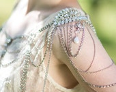 Bridal Rhinestone Shoulder Jewelry , Crystal Epaulettes, Wedding Dress Accessory