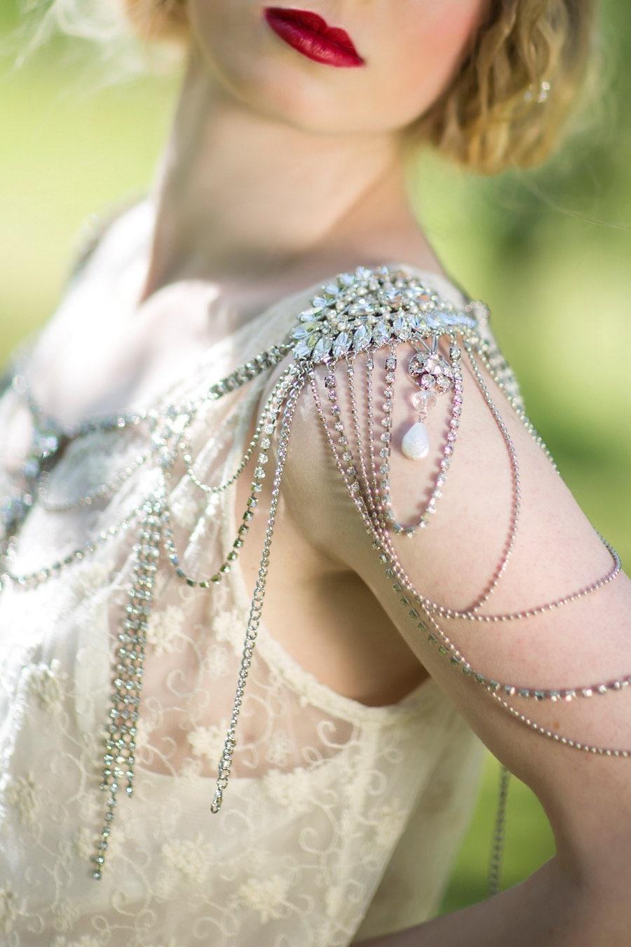 Bridal rhinestone shoulder jewelry crystal epaulettes for Bracelet for wedding dress