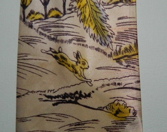 Vintage Hand Painted 40s Swing Tie Rabbit Woodland Scene 4 x 51""