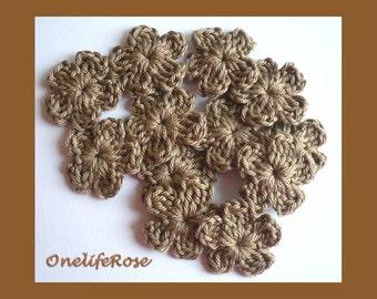 Crochet Flowers  15 pcs