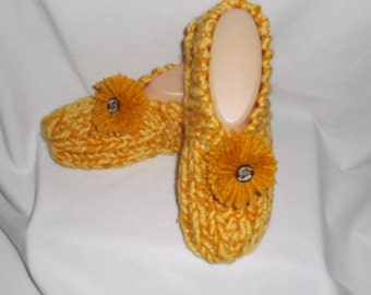 Women's Knitted Gold and Yellow Slippers with Pompoms and Wooden Buttons size 7, 8, or 9